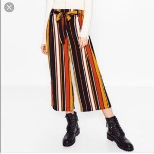 Zara Orange Striped Culottes Crops